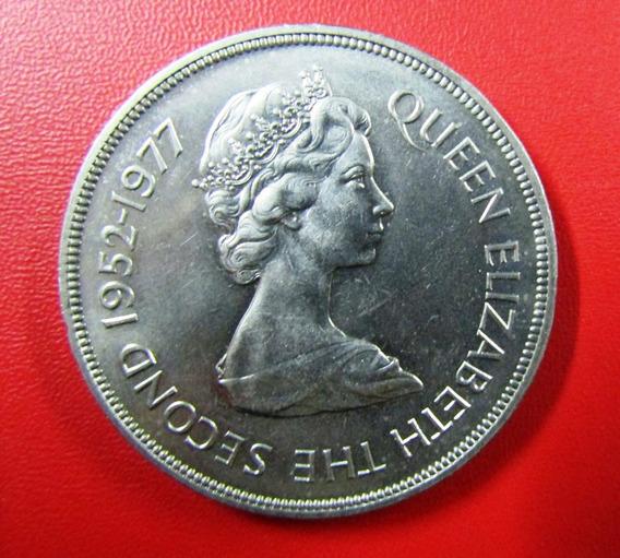 Jersey Moneda Niquel 25 Pence 1977 Unc Barcos