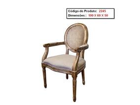 Cadeira Medalhão Luis Xv De Madeira Com Assento Estofado