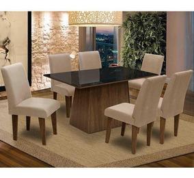 Conjunto Mesa Sala De Jantar Tampo Vidro 6 Cadeirasflorença