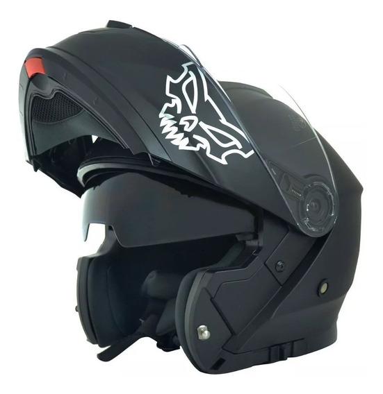 Casco Moto Rebatible Doble Visor Negro Ff380 Punto Extremo