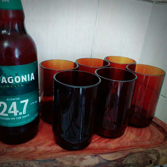 Juego 6 Vasos - Botella Cerveza Patagonia Km 24.7