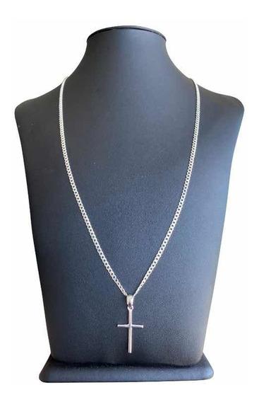 Cordão 70cm 3mm Prata 925 Promoção Com Crucifixo Brinco 925