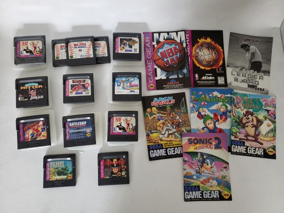 Lote 13 Jogos Game Gear Originais + 7 Manuais + 8 Cases Gg