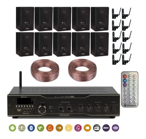 Kit Slim 3000 + 10 Caixas Dsk65 Com Suporte E 200m Fio 1,5mm