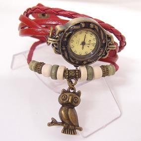 Relógio Feminino Pulseira Couro Pingente Coruja - Vermelho
