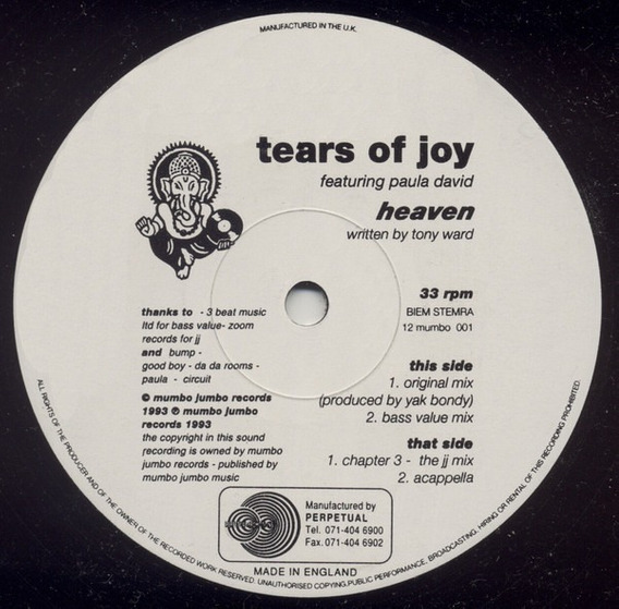 Tears Of Joy Feat. Paula David Heaven 1993 Uk Garage House