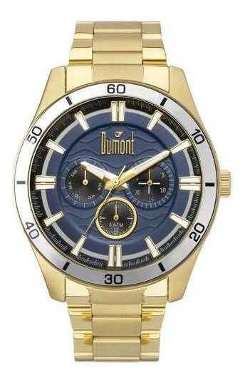 Relógio Dumont Masculino Dourado E Azul Du6p29ace/4a