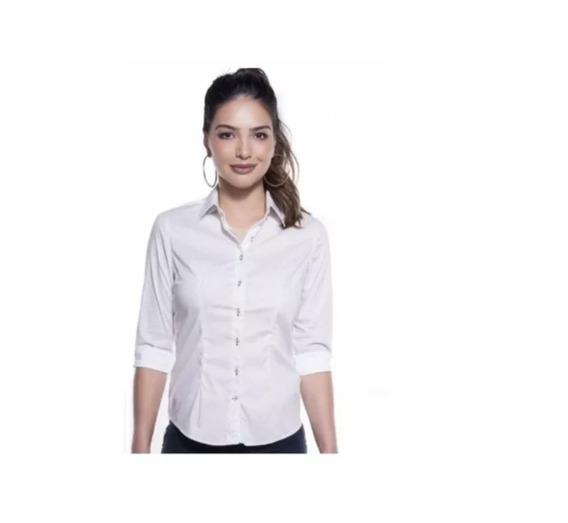 Camisa Camisete Slim Feminino Liso Botões Manga 3/4 Branco