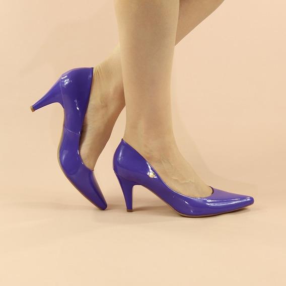 Scarpin Salto Médio Baixo Roxo Violeta Verniz Bico Fino 7 Cm