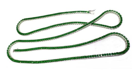 Ft2-colar Riviera Prata925 Zirconia Verde Carre Rodio Kesse
