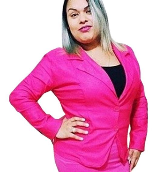 Blazer Feminino Plus Size 46-48 Com Lycra Sem Forro 795