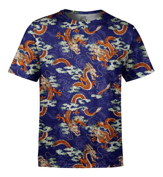 Camiseta Masculina Dragão Chinês Estampa Digital
