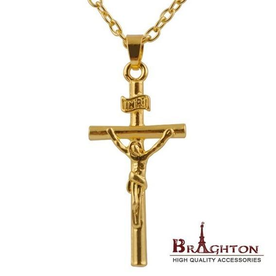 Corrente E Crucifixo Inri Jesus Banhado No Amarelo Ouro
