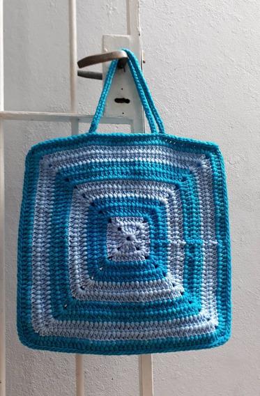 Bolso Cartera Cuadrado Artesanal Trapillo Tul Tejido Crochet