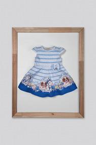 Vestido Petit Cherie Baby Crepe De Malha Azul Cachorrinhos