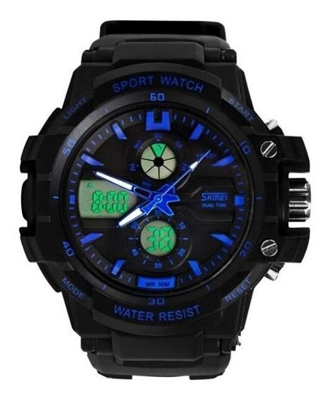 Relógio Masculino Preto/azul - Skmei 0990 + Caixa E Certif.