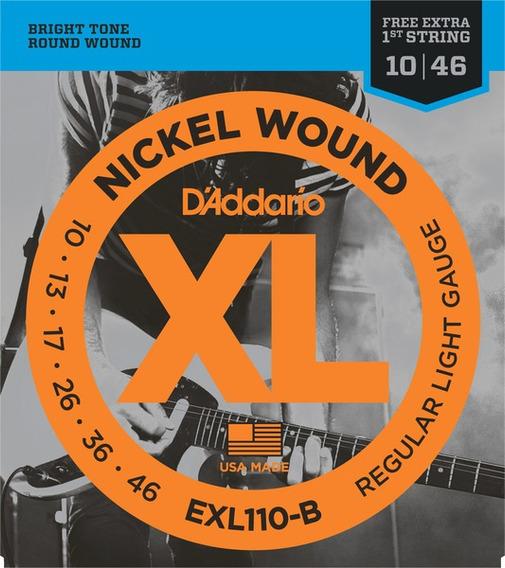 Jogo De Cordas Guitarra Daddario Exl 110 B + Pl010 Xl Nickel