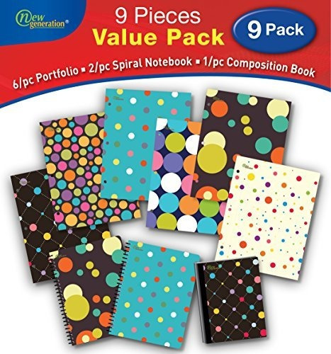 New Generation Polka Dotty 9pc Bundle Value Pack Contiene 6p