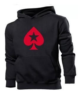 Blusa Moleton Canguru Poker Stars Estampado