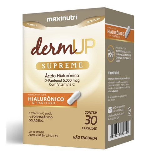Dermup Supreme Ácido Hialurônico + D Pantenol 30 Cápsulas