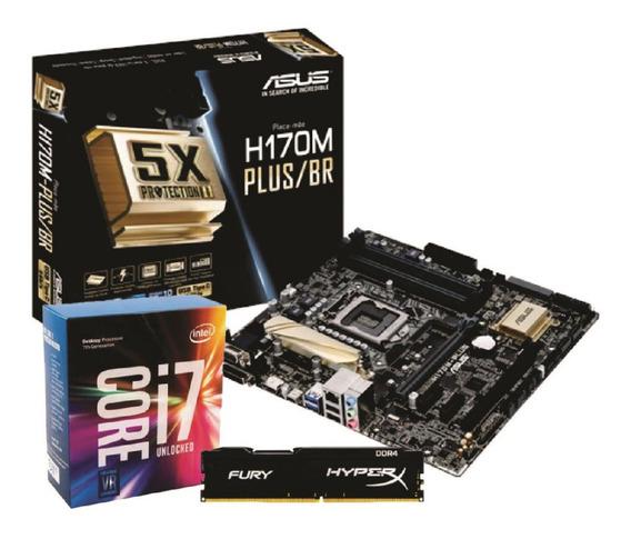 Kit Placa Mãe Asus H170m Plus/br Intel I7 7700k 8gb Fury