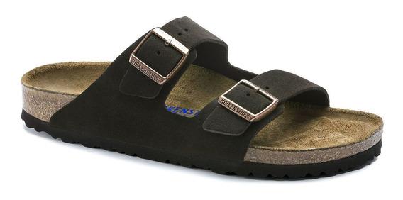 Birkenstock Sandália Arizona Suede Soft Footbed Narrow Marrom 12x Sem Juros
