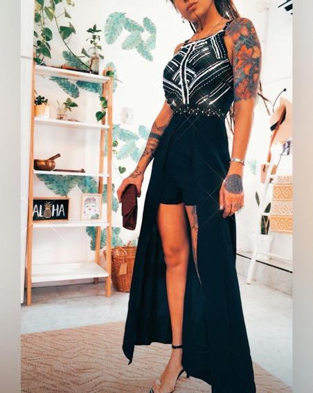 Vestido Largo De Fiesta Pechera Bordada Mujer Gala Art 7001