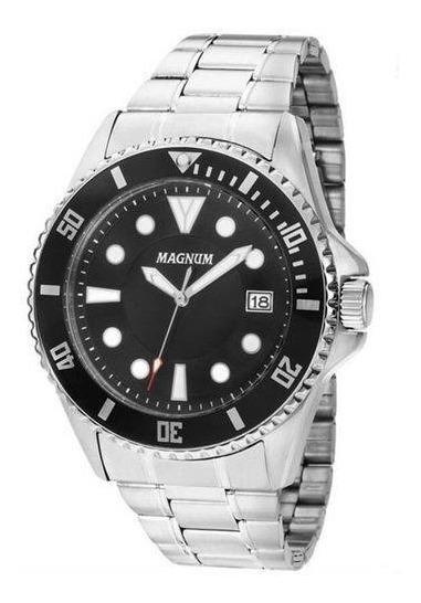 Relógio Magnum Masculino Prateado Analogico Ma33059t