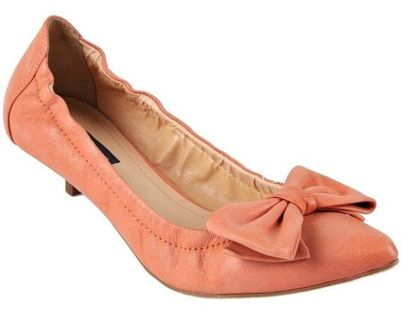 Sapato Scarpin Coral Salto Baixo Bico Fino Emporio Naka Laço