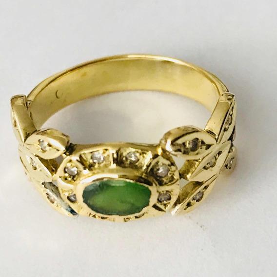 Anel Ouro 18k-4.3- Gr-aro 15 C/diamantes E Esmeralda.