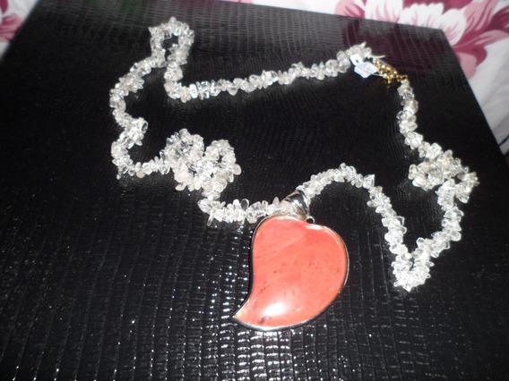 Colar Coração Cristal Cereja E Cascalho De Cristal 84cm Ping