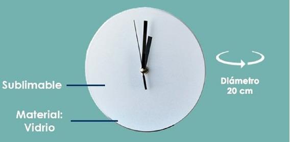 30 Relojes De Vidrio Redondos Sublimarts Diametro 20 Cm
