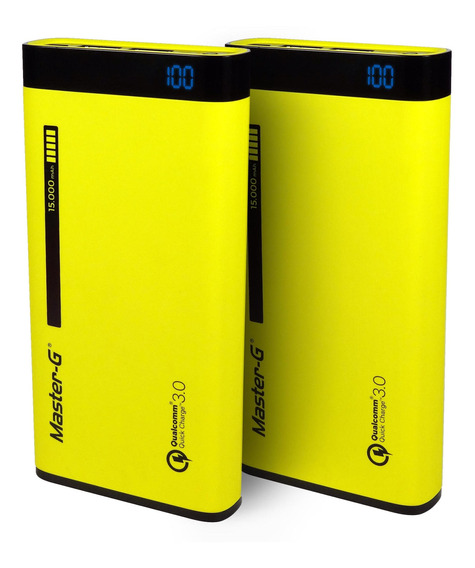 Pack Cargador Portátil Power Bank 15000 Mah Master G (2 Uni