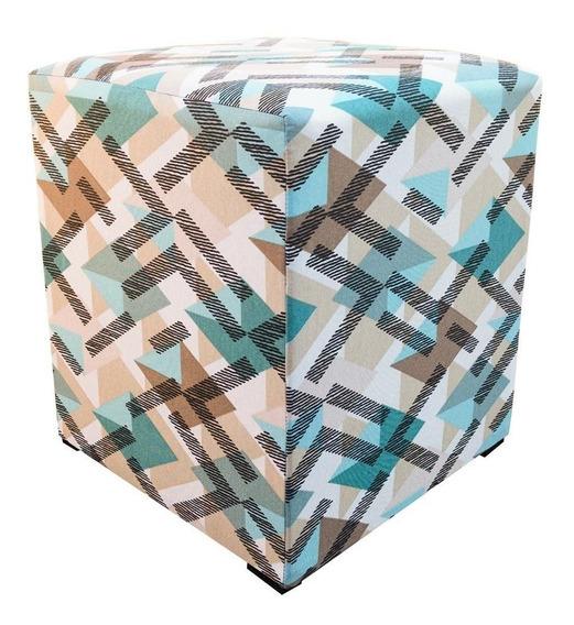 Puff Decorativo Dado Quadrado Azul Tiffany Traçado D33