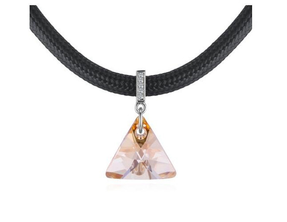 Collar Con Cristales, Amor De Cristal Ac18-175-oro Blanco