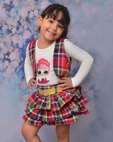Conjunto Xadrez Saia Lol Infantil Menina Inverno