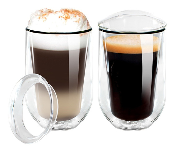 Vaso 350 Ml Pack X2 Unidades Cafe Te Doble Vidrio Termico