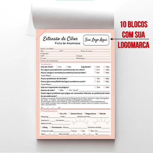 Ficha Anamnese Alongamento De Cílios 10 Blocos C/ Sua Logo