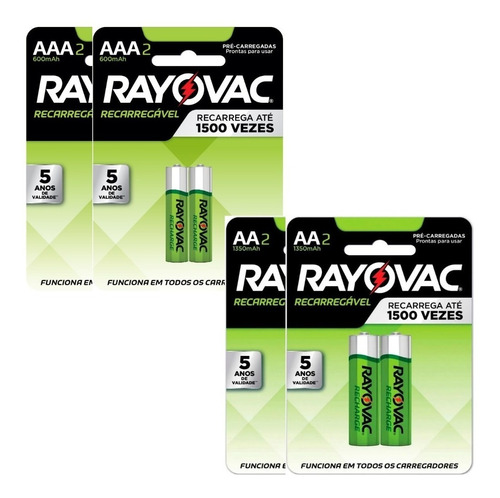 4 Pilhas Recarregaveis Aa + 4 Aaa Rayovac