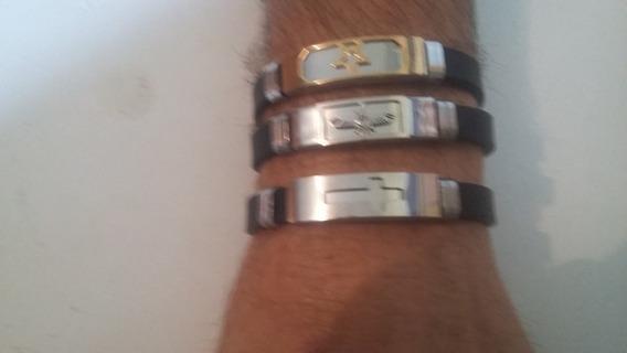 3 Pulsieras Bracelete Masculina Aço Inoxidável Imperdível