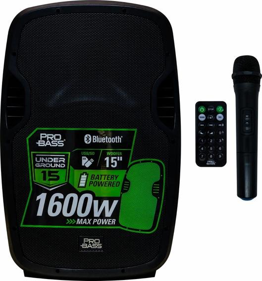 Caixa Ativa Pro Bass 15 Underground Bluetooth Bateria Mic Nf