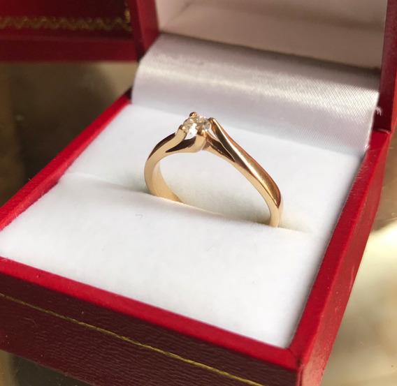 Anillo De Compromiso Oro 14k Diamante .15 Ct Con Certificado