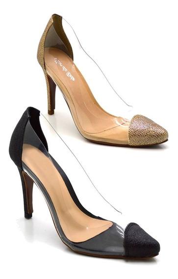 Sapato Scarpin Salto Alto Fino Glitter Com Transparência