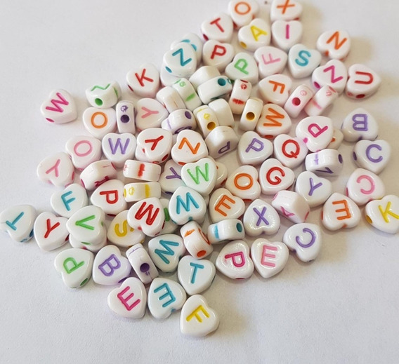 Letras Pulseras Forma Corazón Multicolores 150p. Economica!