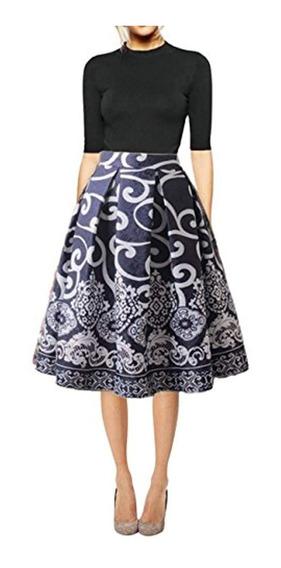 Hanlolo Falda Vintage Mujer Falda Midi Plisada