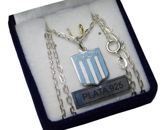 Conjunto Plata 925 Escudo Clubes De Fútbol Esmalte Y Cadena