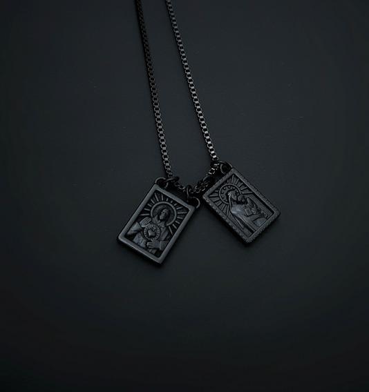 Escapulário All Black Preto Corrente Em Aço Inox 316l