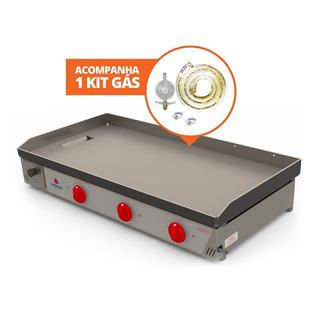 Chapa Bifeteira Lanche Pr1000 G Progás 100 X 53 + Kit Gás