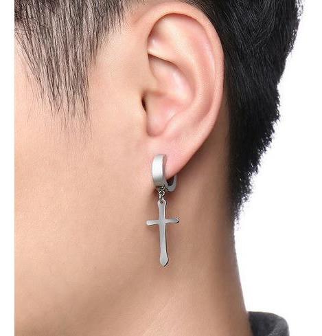 Brinco Pressão Masculino Cruz Católica Prata Crucifixo Jesus