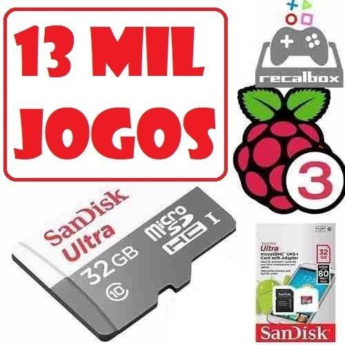 Cartão Sd Ultra C/ 13 Mil Jogos Recalbox P/ Raspberry Pi3